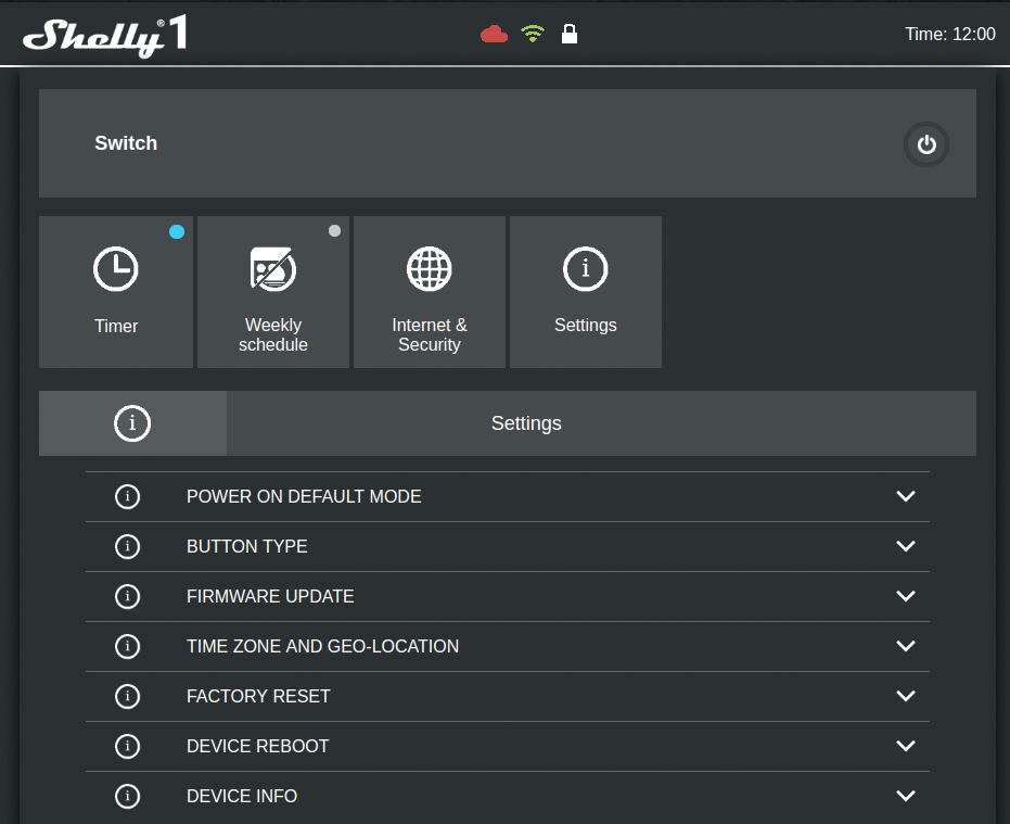 Shelly 1 interface web